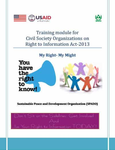 Training module for Civil Society Organizations on Right to Information Act-2013