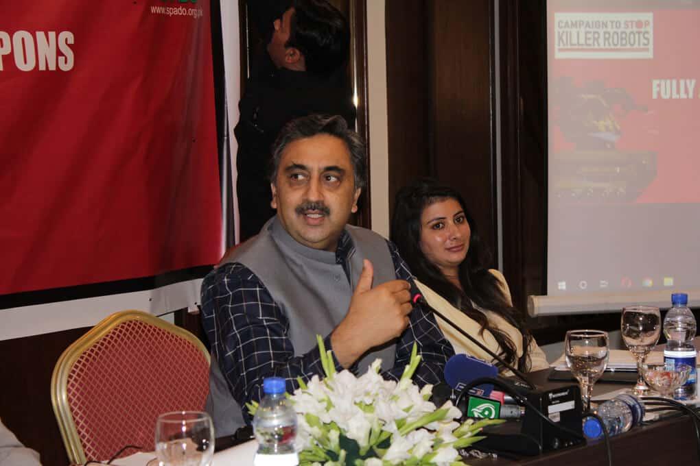 Mr. Ahmer Bilal Soofi talking to Seminar Participants during Ban Killer Robots before its too late, Ban Fully Autonomous Weapon Systems, a Seminar by SPADO at Islamabad