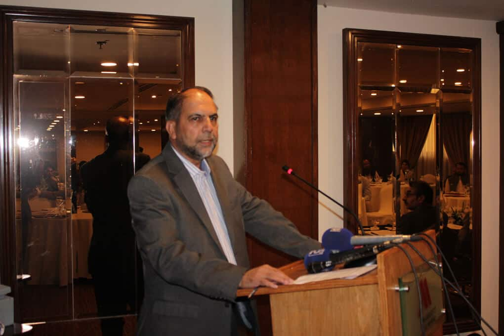 Mr. Bacha Sayed addressing to participants during seminar on Ban Killer Robots before its too late, Ban Fully Autonomous Weapon Systems, a Seminar by SPADO at Islamabad
