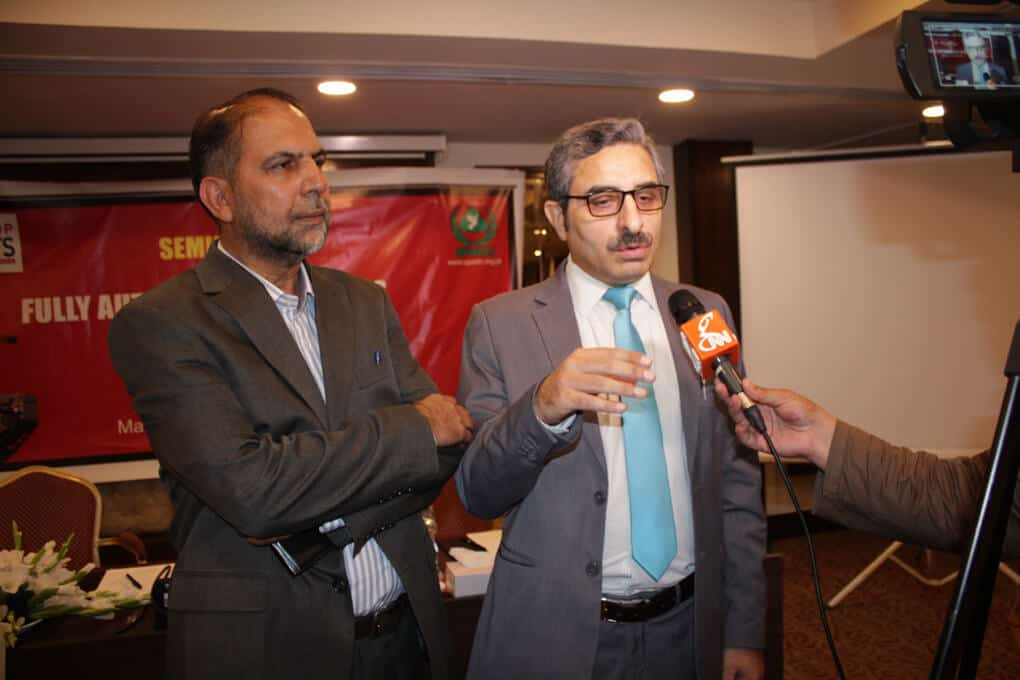 Mr. Raza Shah Khan talking to media during seminar on Ban Killer Robots before its too late, Ban Fully Autonomous Weapon Systems, a Seminar by SPADO at Islamabad