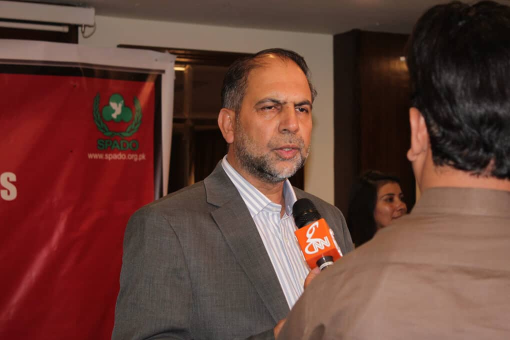 Mr. Bacha Sayed talking to media during seminar on Ban Killer Robots before its too late, Ban Fully Autonomous Weapon Systems, a Seminar by SPADO at Islamabad