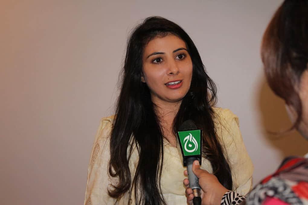 Ms. Gulshan Rafiq talking to media representatives during Seminar on Ban Killer Robots before its too late, Ban Fully Autonomous Weapon Systems, a Seminar by SPADO at Islamabad