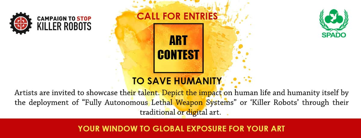 Top cover 4 web - SPADO - Art Contest - Call For Entries Social Media Ad - Stop Killer Robots Art Competition