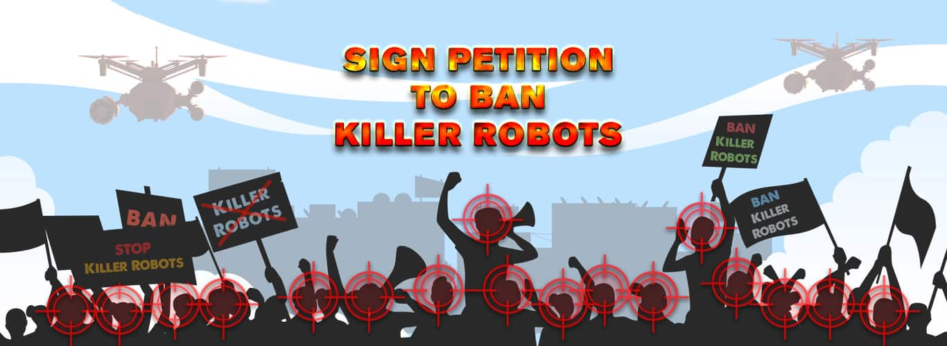 Ban Killer Robots Banner for Sign SPADO Petition